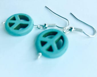 Earrings by Kora - Turquoise Peace Sign Earrings - Support Child Artists - Dangle