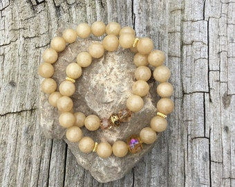 Natural Jade Bracelets with Accent Swarovski Beads and Glass Beads