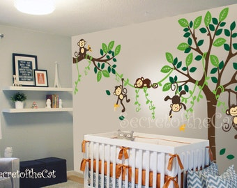 Nursery Wall Decal Wall Decal Nursery   Tree With Monkeys   Baby Tree Decal    Monkey Decal   Nursery