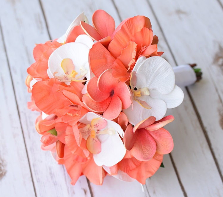Wedding off white coral orange natural touch orchids zoom mightylinksfo