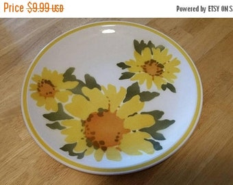 On Sale Mikasa Cera Stone Flora D1379 10.5 inch Dinner or Chop Plate Collectible Kitchen Made in Japan with Orange and Yellow Sunflower Desi