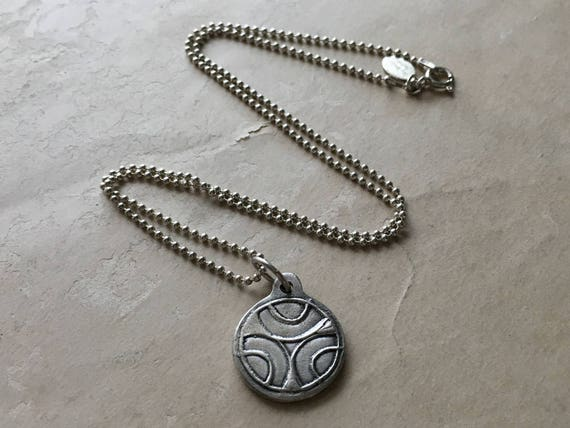 Circle Necklace, Reversible Necklace, Circle Pendant, Carved Silver Pendant, Silversmith Jewelry