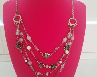 Unique and Antique! Classic 1990's Fashion - Layered Chain Necklace with Bead Accents - Adjustable Closure - Great Vintage Condition!