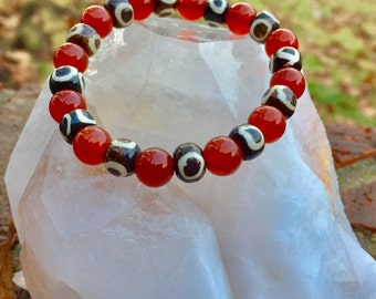 Handmade Cord Stretch Carnelian Bracelet with Brown/Cream Accent Bead ~ Root, Sacral, & Solar Plexus Chakra ~ Increases Zest for Living