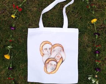 Practical and Lovely Tote Bag Hand Drawn Illustration Cotton Canvas Shopper Bag, Market Bag, Beach Bag, Grocery Bag