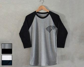 House Stark T-Shirt House Stark 3/4 Raglan Baseball Shirt tee House Stark Shirt game of thrones shirt tee S M L XL