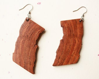 Large Wooden Earrings/Character Cherry Wood Live Edge Earrings/Unique Wood Earrings/Earthy Wood Earrings/Sustainable Wood Earrings/Natural