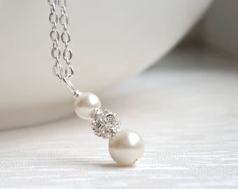 Ivory Bridesmaid Necklace Pearl Necklace Bridesmaid Gift Necklace Bridesmaid Jewelry Rhinestone Jewelry Custom Color Bridal Wedding Party