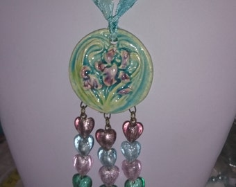 French painter necklace, Van Gogh irises, blue, green and mauve ceramics ""