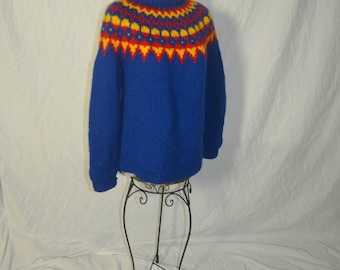 Womens Vintage  Hand Knit Blue Red Yellow Nordic Pullover Sweater