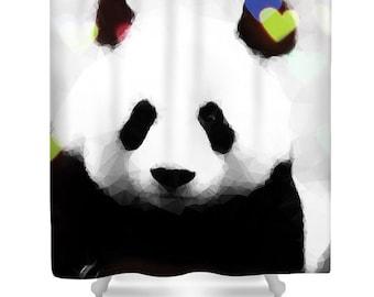 Panda Love Shower Curtain,Geometrical Abstract Panda Bathroom Curtain,Bathroom  Decor,Shower Accessories