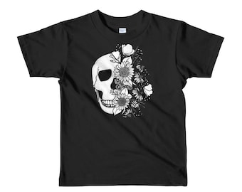 Skull and flowers Short sleeve kids t-shirt