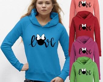 Disney Love Sweatshirts Disney Hoddie Minnie Hoodie for Disneyland Hoodie Love Minnie Long sleeve Blouse for Women Shirt