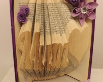 mum/sister/dad/nan  book folding origami with heart and flowers