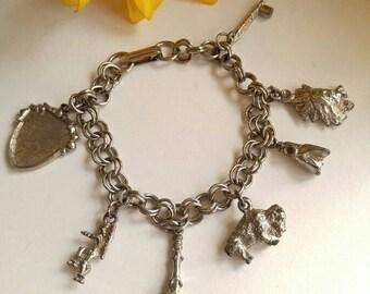 Vintage Native American charm bracelet silver tone