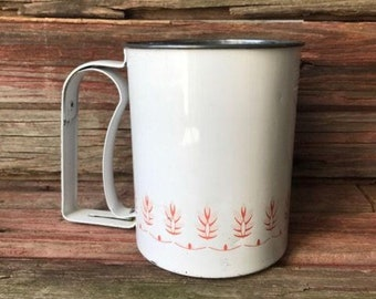 Androck Flour Sifter - White with Pink Wheat Design