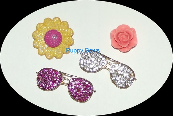 Puppy Bows ~ Rhinestone SUNGLASSES pet dog hair barrette clip CRYSTAL pink~USA seller