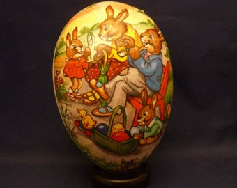 Vintage Family of Rabbits Nestler Germany Paper Mache Lithograph Easter Egg Container, 1980s