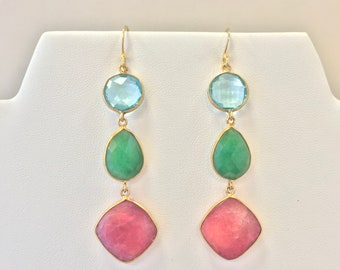 Watermelon Pink and Green Spinel, and Blue Topaz Faceted Gold Earrings