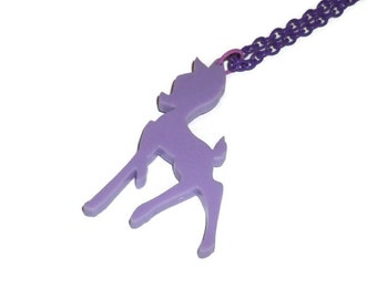 Kawaii Fawn Necklace, Pastel Lilac Lavender Bambi Deer, Cute Animal Perspex Jewelry