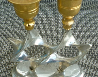 Judaica vintage gold & silver plated double Star of David candleholders, Jerusalem