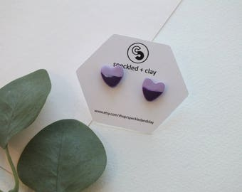 Lavender and Plum Heart Clay Earrings