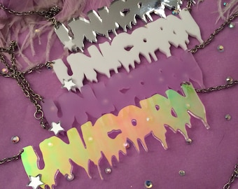UNICORN Drippy Font Acrylic Necklace in White, Lilac, Silver, or Radiant