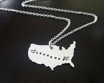 Custom USA Long Distance Personalized hand stamped Necklace Going Away Relationship Jewelry