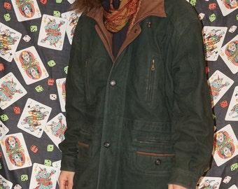 Vintage 80's Green Suede Coat