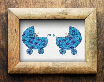 Twin Boy & Boy Nursery Art/ Nursery Decor/ Printable Artwork/ Digital Download