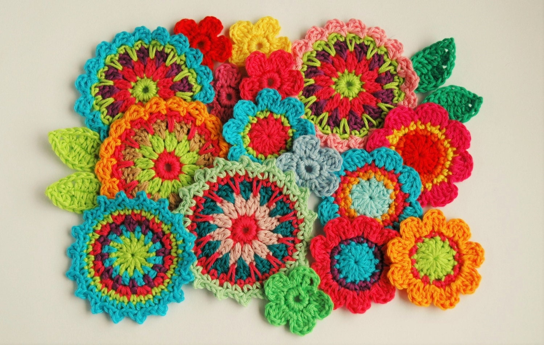 Crochet Flower Pattern - Mini Mandala Crochet Applique pattern ...