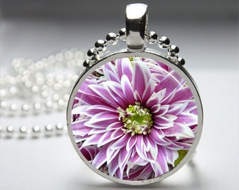Purple Flower Dhalia Round Pendant Necklace with Silver Ball or Snake Chain Necklace or Key Ring