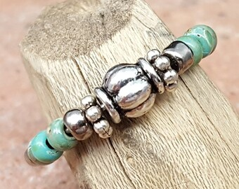 Turquoise Silver Beaded Memory Wire Ring-Adjustable Ring-Picasso Turquoise (PTG)