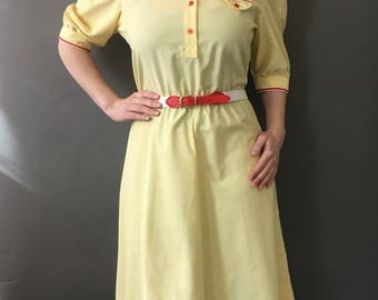 New 60s Sunshine Deadstock Dress - 1960s Deadstock Yellow Dress w Red Details - Never Worn w Original Tags Fit and Flare - Matching Belt
