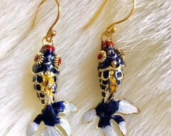 Navy Cloisonne Fish on Gold Vermeil Earwires