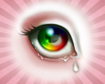 Rainbow Eye 8x8 Stretched Canvas Art Print - Lover's Eye Gallery Wrapped Canvas, Pop Surrealism Wall Art