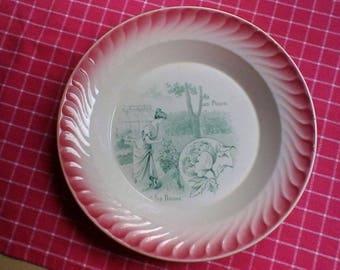 "Pretty ""La Pivoine"" pink edged plate - Vintage French Digoin Sarreguemines plate"