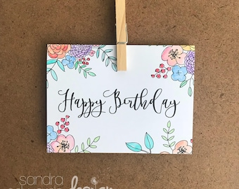 Happy Birthday hand coloured card
