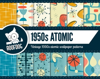 Atomic digital paper | 1950s Atomic pattern | digital paper pack instant download | Retro atomic digital paper | mid century atomic space