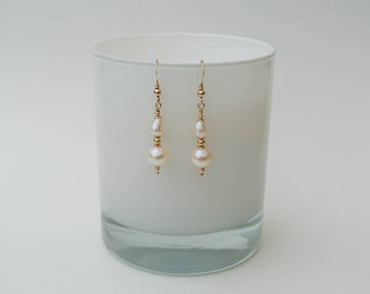14K Gold Filled and Ivory White Freshwater Pearl Drop Earrings