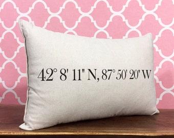 Personalized Pillow, Longitude And Latitude Pillow, Personalized Coordinates, Housewarming Gift, Personalized Gift, Wedding Gift
