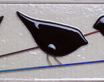 Stained Glass Birds on the Line, Black Bird Silhouettes on Wire, Fused Art Glass  Suncatcher, Home Decor, Gift
