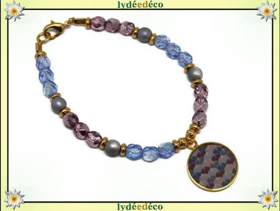 Bracelet resin brass gold 24 carat GINKO Japan pink purple blue gray gold faceted beads