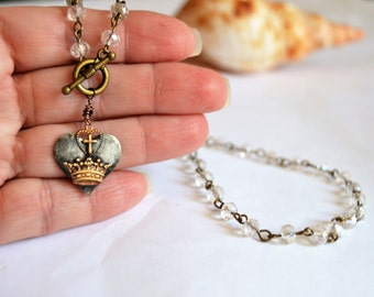 PEWTER HEART with Cross and Crown Artisan Made Heart Charm Necklace Crystal Beaded Chain