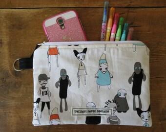 Modern Zombie Zipper Pouch, pencil case, make-up bag, craft bag