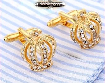 Custom Monogram An crown cufflinks Royal Gold Tone Crown Jewels Elegant Crown Cufflinks personalized jewelry