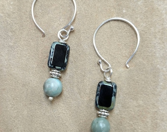 Black and Green Silver Dangle Earrings