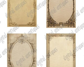 Vintage Sepia Journaling Tags Frames Digital Download