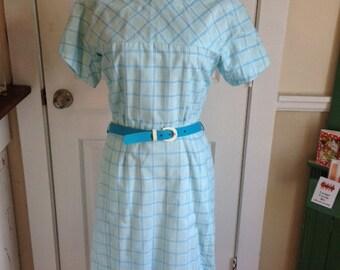60's light blue plaid cotton blend dress