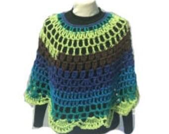 Crochet Poncho Peacock Crochet Poncho  Round Shawl Handmade Crochet Pullover Poncho Capelet Coverup Handmade Ready to ship